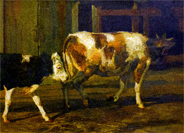 Calves 2019 41x57 Original Painting - Robert Nizamov