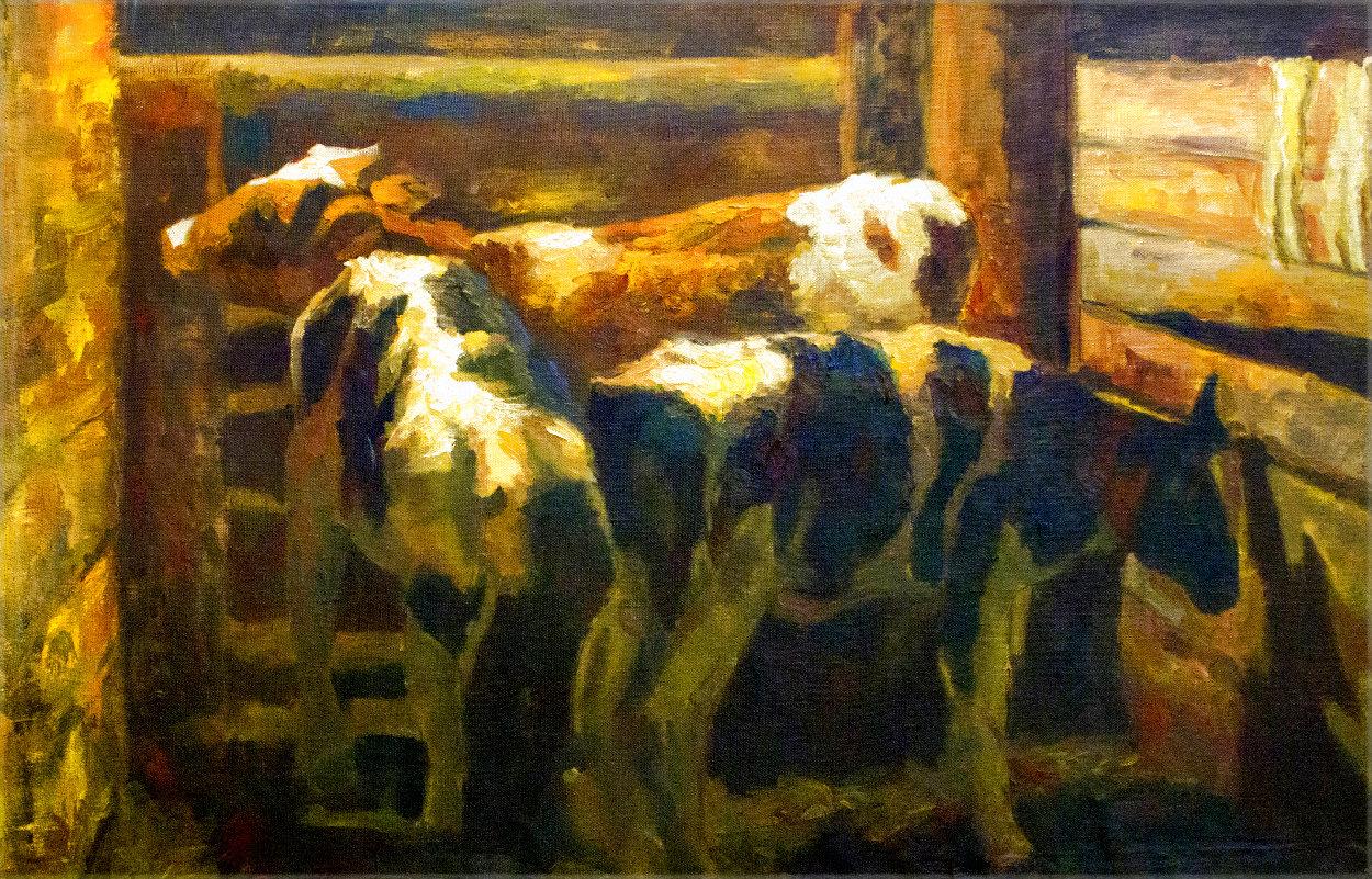 Calves 2019 41x57 Huge  Original Painting by Robert Nizamov