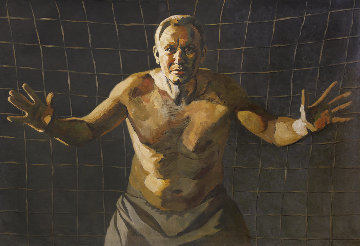 Goalkeeper 2018 41x59 Huge Original Painting - Robert Nizamov