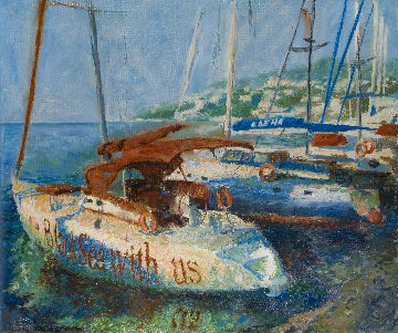 Boats 2014 39x47 Original Painting - Robert Nizamov