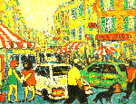 City 1998 18x23 Original Painting - Robert Nizamov