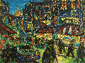 City 1998 17x23 Original Painting - Robert Nizamov