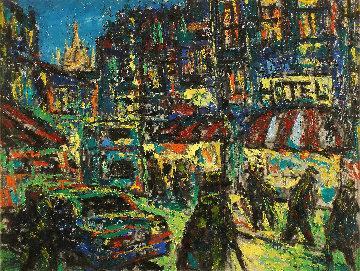 City 1998 17x23 Original Painting - Robert Nizamov