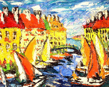 Yachts II 1998 16x20 Original Painting - Robert Nizamov