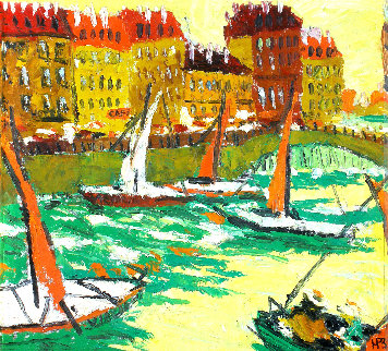 Yachts 1998 20x22 Original Painting by Robert Nizamov
