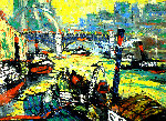 City II 1998 20x27 Original Painting - Robert Nizamov