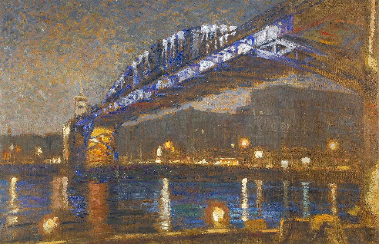 Pushkin Bridge 2020 40x59 Huge Original Painting by Robert Nizamov