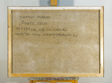 Boats 2010 38x51 Original Painting - Robert Nizamov