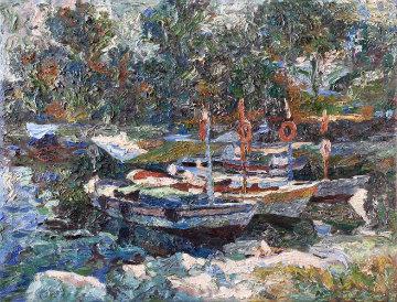 Boats 2010 49x50 Original Painting by Robert Nizamov