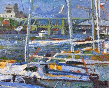 Yachts II 2010 47x51 Original Painting - Robert Nizamov