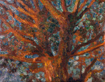 Tree 2010 41x52 Huge Original Painting - Robert Nizamov