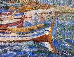 Boats 2010 40x52 Original Painting - Robert Nizamov
