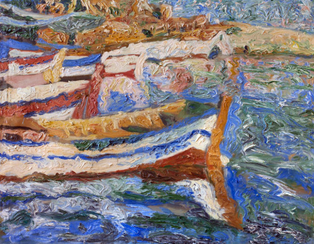 Boats 2010 40x52 Original Painting by Robert Nizamov