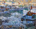 Boats 2010  42x52 Original Painting - Robert Nizamov