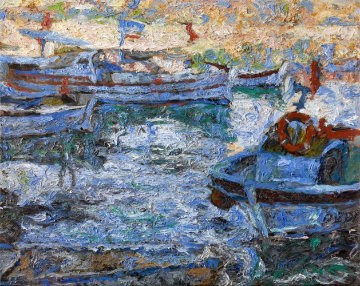 Boats 2010  42x52 Original Painting - Robert Nizamov