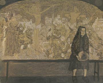 Old Woman 1997 39x47 Super Huge Original Painting - Robert Nizamov