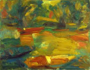 River 1999 27x36 Original Painting - Robert Nizamov