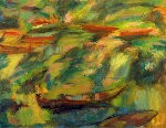 River 1999 27x36 Original Painting - Robert Nizamov