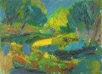 River 1999 24x33 Original Painting - Robert Nizamov