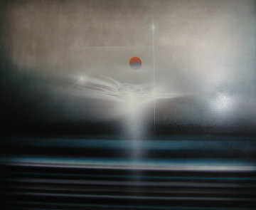 Untitled Painting on Aluminum 1985 36x60 Original Painting by Andreas Nottebohm