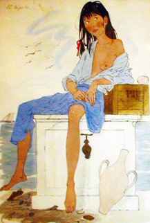 Girl Sitting Watercolor 1972 47x35 Watercolor - Philippe Noyer