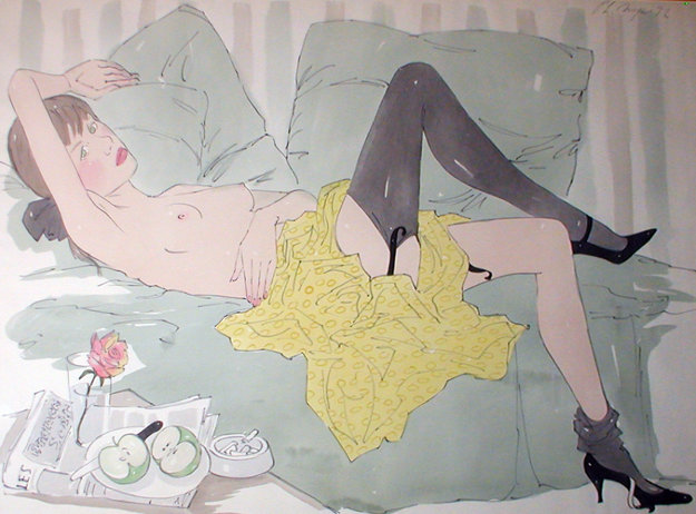 Girl Reclining Watercolor 1972 37x45 Watercolor by Philippe Noyer