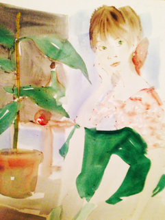 Girl Sitting Watercolor 1966 11x8 Watercolor by Philippe Noyer