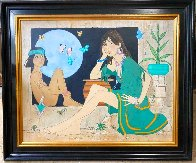 Maiden With Indian Boy and Blue Moon 41x49 Super Huge Original Painting by Dennis Paul Noyer - 1