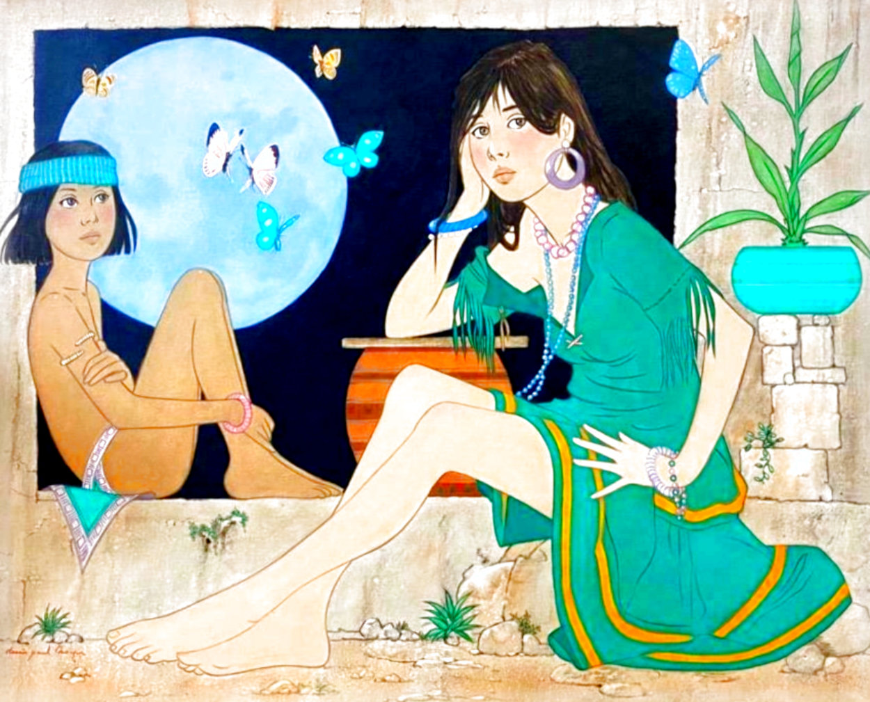Maiden With Indian Boy and Blue Moon 41x49 Super Huge Original Painting by Dennis Paul Noyer