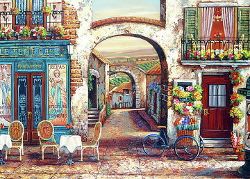 La Petit Cafe Embellished Embellished Limited Edition Print - John OBrien