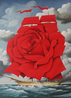 Red Rose Ship 2007 Limited Edition Print - Rafal Olbinski