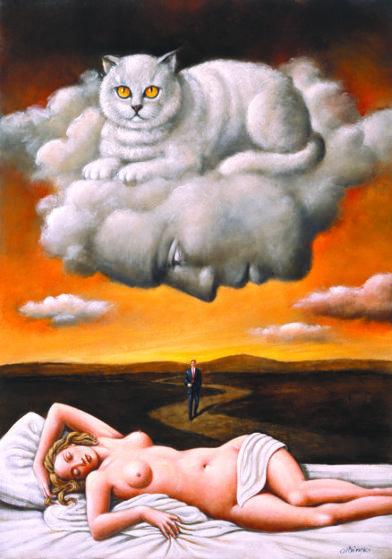 Le Chat Original Painting by Rafal Olbinski