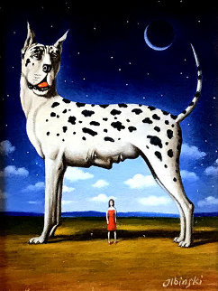 Intimidating Quality Original Painting by Rafal Olbinski