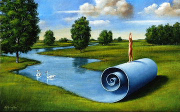 Habitual Condition of Aesthetic Intercourse 2008 16x22 Original Painting - Rafal Olbinski