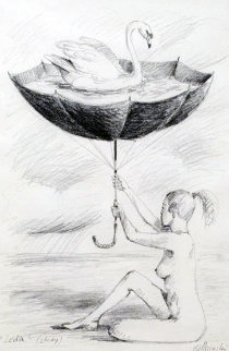 Leda And the Swan 1999 35x27 Drawing by Rafal Olbinski