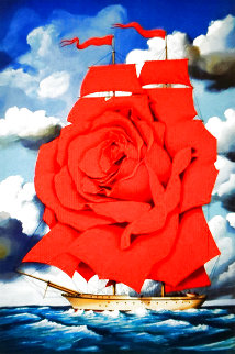 Red Rose Ship 2002 Limited Edition Print - Rafal Olbinski