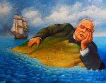 Untitled Marlon Brando Island 1990 Original Painting - Rafal Olbinski