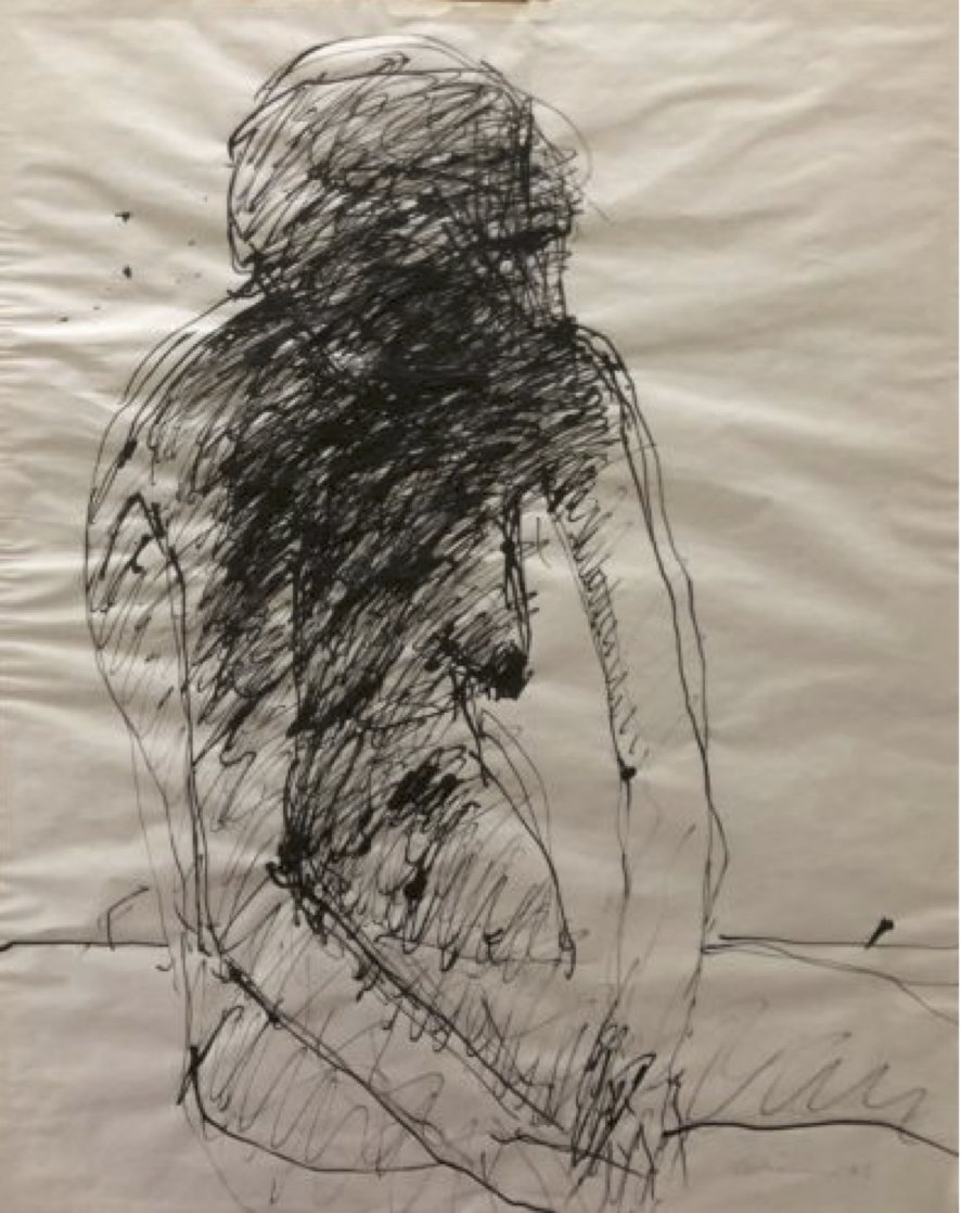 Abstract Nude Drawing 1970 24x19 Works on Paper (not prints) by Nathan Oliveira