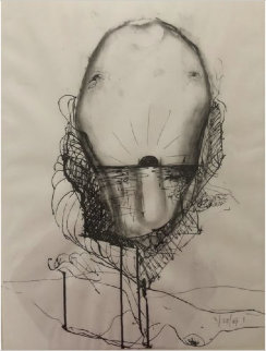 Untitled Drawing 1970 26x19 Works on Paper (not prints) by Nathan Oliveira