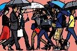 Walking in the Rain, Seoul, Korea Limited Edition Print - Julian Opie