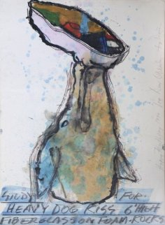 Study For Heavy Dog Kiss 1994 41x31 Huge Watercolor - Dennis Oppenheim