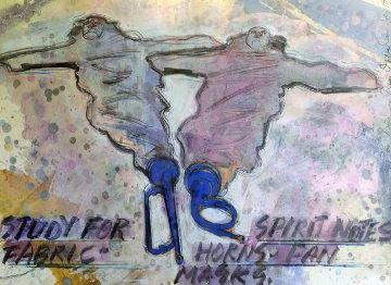 Study for Spirit Notes 1992 40x27 Super Huge Watercolor - Dennis Oppenheim