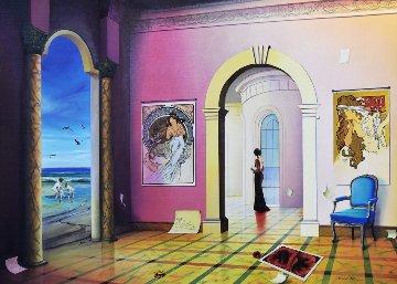 Lady in Red III 43x55 Original Painting - Orlando Quevedo