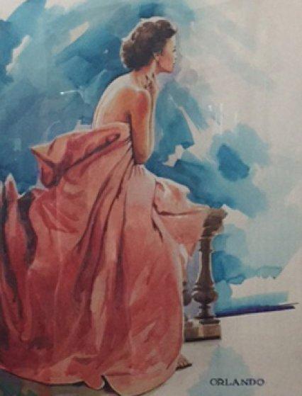 Remember Me Watercolor 2017 37x31 Watercolor by Orlando Quevedo