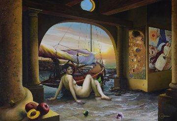Naked Bliss 32x45 Original Painting - Orlando Quevedo