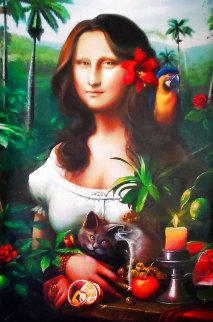 Mona Lisa of Mine 2017 39x31 Original Painting - Orlando Quevedo