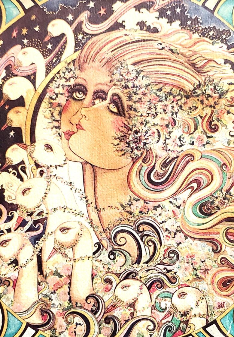 Dream of the Swan Serenade Watercolor 1977 5x7 Watercolor by Agudelo-Botero Orlando (Orlando A.B.)