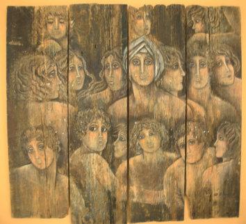 Columbian Women on wood 1973 41x48 Super Huge Original Painting - Agudelo-Botero Orlando (Orlando A.B.)