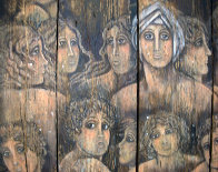 Columbian Women on wood 1973 41x48 Super Huge Original Painting by Agudelo-Botero Orlando (Orlando A.B.) - 1