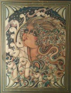 Dream of a Swan Serenade Watercolor 1977 34x28 Original Painting - Agudelo-Botero Orlando (Orlando A.B.)